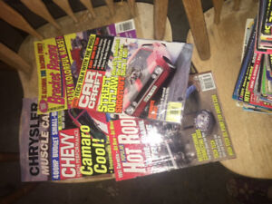 Box full of 109 car magazines and a few car  books