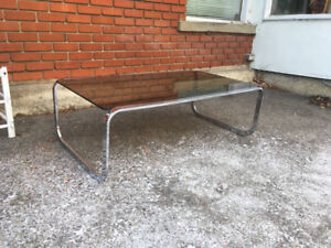 Beautiful Mid Century Modern Coffee Table Chrome Smokey Glass