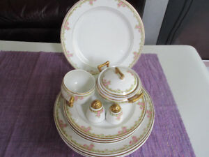 Limoges Bridal Rose  - Plates, Covered sugar bowl, Salt & Pepper