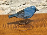 Hand Carved and Painted Wooden Indigo Bunting on Wire Spring