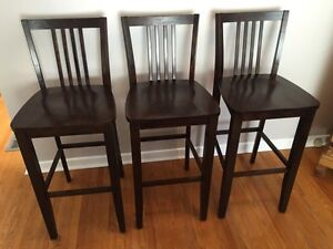 3 solid wood bar stools in goodcondition