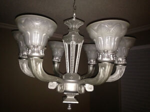 5-Arm Chandelier with Frosted Glass Shades
