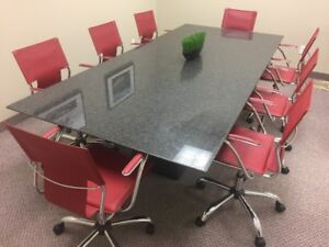 Granite boardroom/conference table & 8 chairs