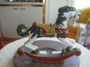 HEAVY DETAILED CAST IRON ROCKING-HORSE DOOR STOP