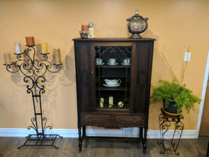 Walnut antique china cabinet