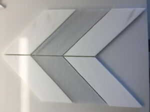 Large Chevron Carrera Marble Backsplash: in White and Grey