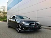 2013 63 reg Mercedes-Benz C220 CDI AMG Sport Plus Coupe Black + Sat Nav