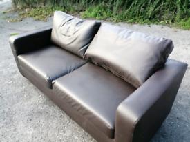 Comfortable leather effect sofa