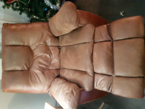 Brown leather recliner chair.