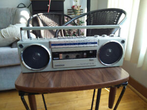 Old school Sanyo boombox radio and cassette player