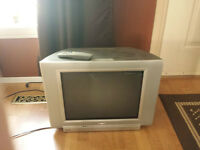"20"" CRT television, completely working, attached DVD player"