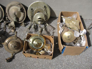 ANTIQUE VINTAGE ELECTRIC LAMP PARTS & COMPLETE CEILING FIXTURES