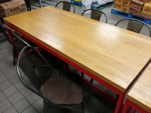 wood table top with steel leg 32 x 72 x 29 1/2H