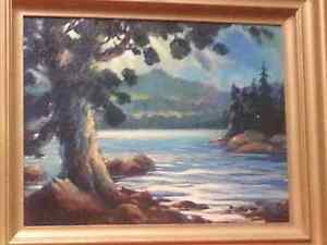 Old Vintage ORIGINAL OIL PAINTING Lake Temagami Ontario Canada