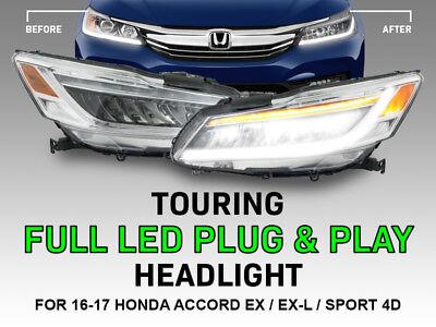 - Plug&Play TOURING Full LED Headlight Set For 16-17 Honda Accord 4D Sport EX EX-L