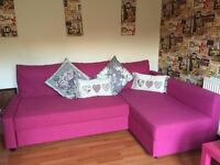 Hot pink corner sofa pull out double bed