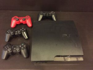 PS3 Slim with 4 controllers
