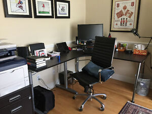 Office desk with storage units, hutch and file drawer