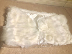 Brand new White/Ivory color faux fur Shawl shrug cape