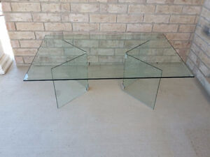 Large beveled glass top with glass base coffee table for sale London Ontario image 9