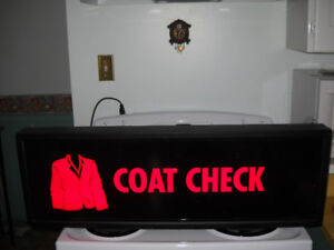 BRIGHT RED LIGHT UP SIGN    COAT CHECK
