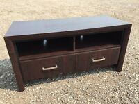 Dark Brown Wood TV Stand with Drawers