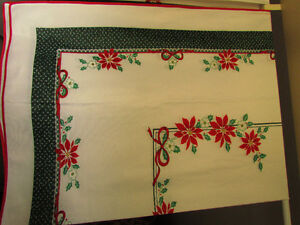 "Two Christmas Tablecloths, Each 60"" x 84"""