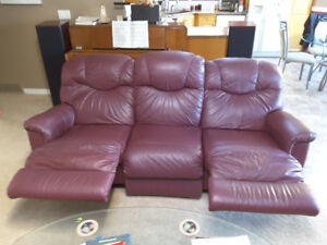 Lazboy leather double recliner high back burgundy sofa
