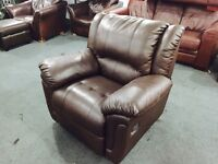 As new brown leather armchair