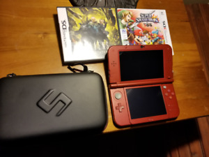 Nintendo 3DS XL Red with adapter, case and two games