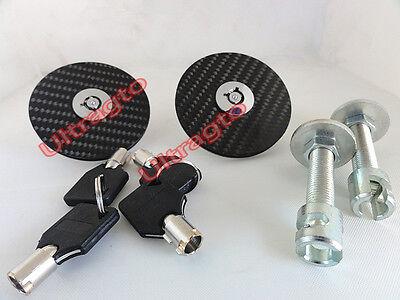 (RACING Mount Bonnet BLK TOP MOUNT Carbon Fiber Hood Latch Pins Key Locking Kit)