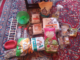 Bulk lot hamster food, bedding and accessories