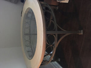 Light wood coffee table with glass middle