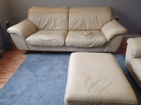 cream leather 3 seater, chair and foot stool
