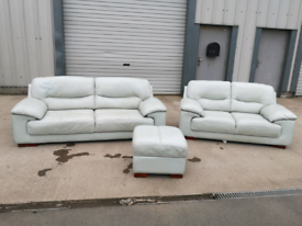 Duck egg blue leather dfs 3+2 seater sofas couches suite 🚚🚚