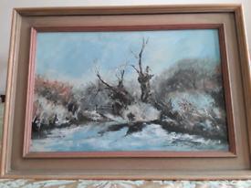 Original oil painting of a wood scene