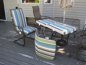 Set of 3 Striped Cushions for Patio Chairs