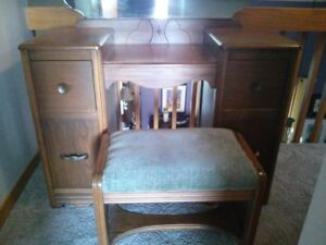 Antique makeup vanity set with mirror and matching bench