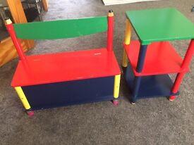 WOW childrens book shelf toy shelf with bench storage underneath pencil design red green blue