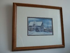 beautiful picture of an old house in a wood frame