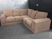 Brown fabric corner sofa 4-5 seater beige chocolate