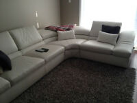 NATUZZI WAVE SECTIONAL CREAM COLOR COUCH 100% GENUINE LEATHER