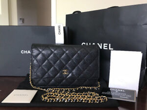 Authentic Chanel Wallet on Chain WOC , Black Caviar, Gold HW