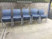Blue plastic effect stacking reception chairs