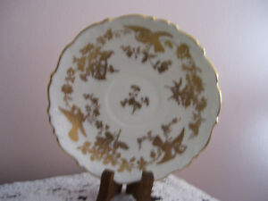 Coalport Gold and White Saucer with Birds
