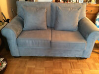 Blue Love Seat comes with two matching cushions