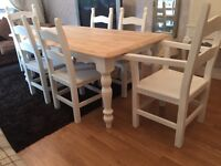 Gorgeous 6ft Shabby Chic Oak Farmhouse Table and 6 Chairs Inc Two Carvers