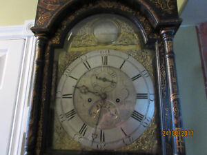 ENGLISH BLACK CHINOSERIE GRANDFATHER CLOCK