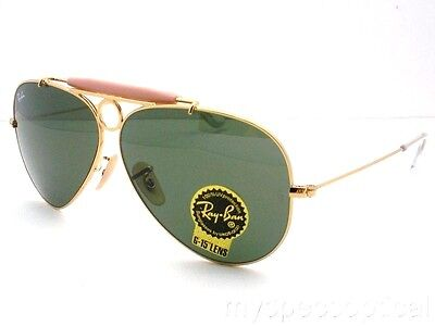 Ray Ban Shooter RB 3138 001 Gold G15 Green New Authentic Sunglasses (Ray Ban Shooter Sunglasses)