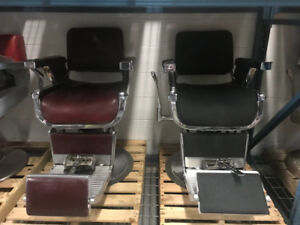 Various Antique Barber Chairs